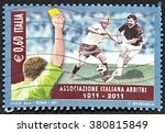Small photo of GRANADA, SPAIN - NOVEMBER 30, 2015: A stamp printed in Rome shows men playing football and arbiter showing yellow card, 2011