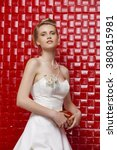 attractive young bride with... | Shutterstock . vector #380815981
