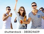 young people with beer on the... | Shutterstock . vector #380824609
