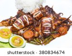 squid grilled with vegetables... | Shutterstock . vector #380834674