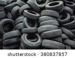 used car tires pile in the tire ... | Shutterstock . vector #380837857