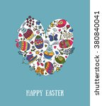 hand sketched happy easter text ... | Shutterstock .eps vector #380840041