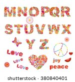 hippie floral alphabet with... | Shutterstock .eps vector #380840401
