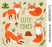 Vector Set Of Four Cute Foxes...