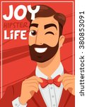 portrait of a bearded hipster... | Shutterstock .eps vector #380853091