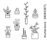 Line House Plants Icons. Vecto...