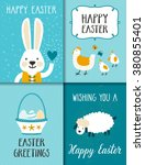 Vector Set Of Easter Cards Wit...