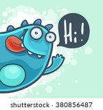 Cartoon Cheerful Monster Waving ...