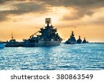 Military Navy Ships In A Sea...