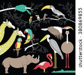 wild african animals and birds... | Shutterstock .eps vector #380869855