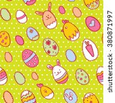 happy easter seamless pattern... | Shutterstock .eps vector #380871997