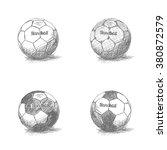 set of sketches of handball... | Shutterstock .eps vector #380872579