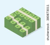 big stacked pile of cash a lot... | Shutterstock .eps vector #380873011