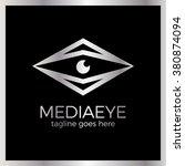 media eye logo. arrow rhombe... | Shutterstock .eps vector #380874094