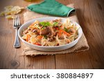 pasta with mushrooms and... | Shutterstock . vector #380884897