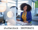 portrait of a smiling woman... | Shutterstock . vector #380908651