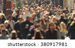 crowd walking street anonymous... | Shutterstock . vector #380917981
