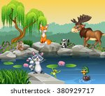 cartoon funny animal collection ... | Shutterstock .eps vector #380929717