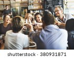 dinner dining wine cheers party ... | Shutterstock . vector #380931871