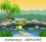 cartoon happy frog jumping on... | Shutterstock .eps vector #380931985
