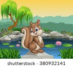 Cartoon Happy Squirrel Posing
