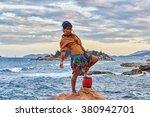 woman shaman standing on drum ... | Shutterstock . vector #380942701