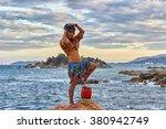 woman shaman standing on drum ... | Shutterstock . vector #380942749