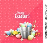 pink easter greeting card with...   Shutterstock .eps vector #380947219