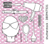 hairdressing tools set with... | Shutterstock .eps vector #380947531
