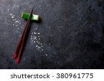 Sushi Chopsticks On Stone Tabl...
