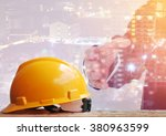 safety helmet with construction ... | Shutterstock . vector #380963599