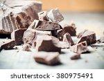 dark chocolate pieces  ...   Shutterstock . vector #380975491
