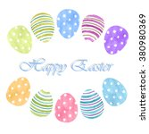 easter eggs colorful watercolor ... | Shutterstock . vector #380980369