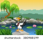 Cartoon Funny Duck Presenting
