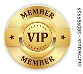 gold vip member badge on white...
