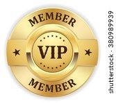 gold vip member badge on white... | Shutterstock .eps vector #380989939