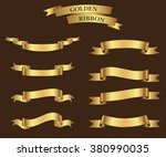 ribbon banner set.golden... | Shutterstock .eps vector #380990035