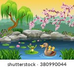 cartoon funny mother duck with... | Shutterstock . vector #380990044