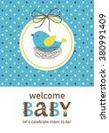 baby girl shower card design.... | Shutterstock .eps vector #380991409