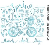 spring  set of blue icons and... | Shutterstock .eps vector #380993881