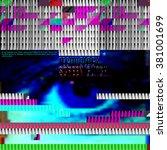 blue screen with digital...   Shutterstock .eps vector #381001699
