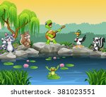 cartoon happy animals singing... | Shutterstock .eps vector #381023551