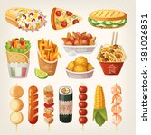 set of colorful takeaway food... | Shutterstock .eps vector #381026851