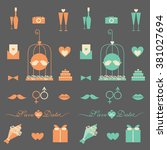 wedding icon set | Shutterstock .eps vector #381027694