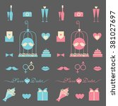 wedding icon set | Shutterstock .eps vector #381027697