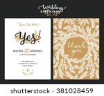 save the date cards  wedding... | Shutterstock .eps vector #381028459