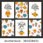 vector animal cards  happy... | Shutterstock .eps vector #381028651