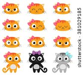 Stock vector set of different cartoon cats with various emotions 381029185
