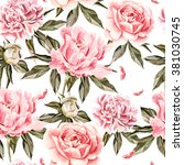 watercolor pattern with flowers ... | Shutterstock . vector #381030745