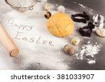 the process of baking cookies... | Shutterstock . vector #381033907